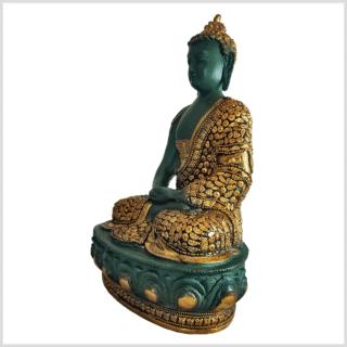 Meditationsbuddha Erleuchtungsbuddha Erleuchtung Messing grüngold 34cm links