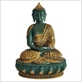 Meditationsbuddha Erleuchtungsbuddha Erleuchtung Messing grüngold 34cm vorne