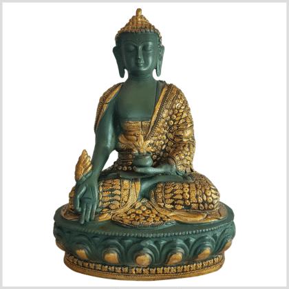 Medizinbuddha Lifebuddha mit Steinen grüngold 34cm Vorderseite