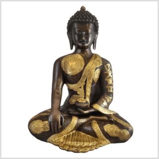 Erdender Buddha 32cm Ashtamangala Handarbeit Messing Kupfer vorne