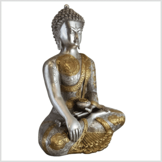 Erdender Buddha Messing Silber 32cm rechts