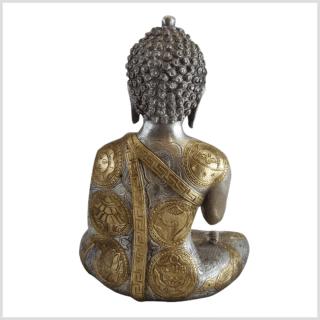 Lehrender Buddha Messing Silber Ashtamangala 32cm Rücken