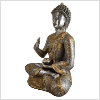 Lehrender Buddha Messing Silber Ashtamangala 32cm Seite links