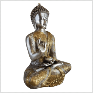 Lehrender Buddha Messing Silber Ashtamangala 32cm Seite rechts