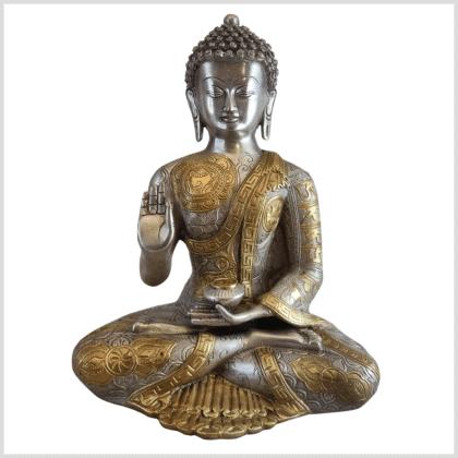 Lehrender Buddha Messing Silber Ashtamangala 32cm vorne