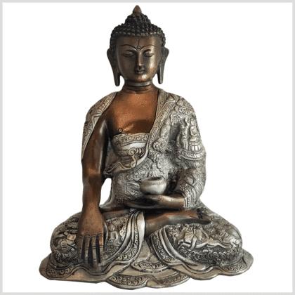 Erdender Buddha Life 6kg Messing Kupfer Silber Handarbeit Vorderansicht