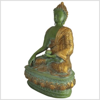 Erdender Buddha mint dunkelgrün 33cm Seite links