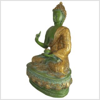 Lehrender Buddha Messing mintdunkelgrün 33cm Seite links