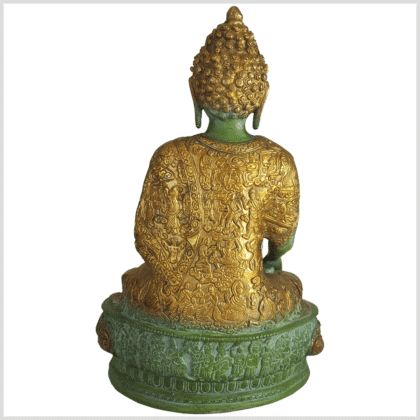 Lehrender Buddha Messing mintdunkelgrün 33cm hinten