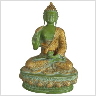 Lehrender Buddha Messing mintdunkelgrün 33cm vorne