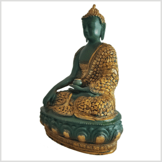 Erdender Buddha Mosaik grüngold 33cm links