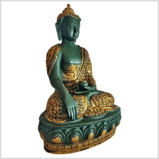 Erdender Buddha Mosaik grüngold 33cm rechts