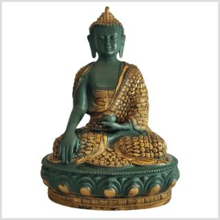 Erdender Buddha Mosaik grüngold 33cm vorne