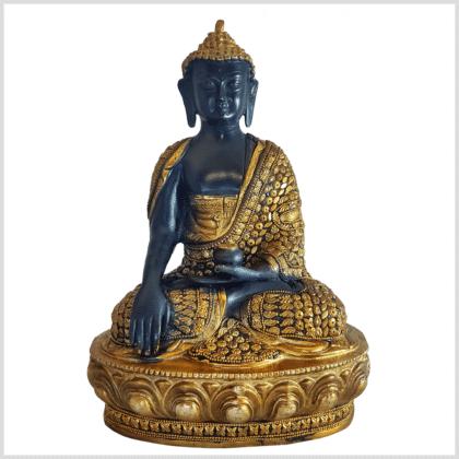 Erdender Buddha Mosaik schwarzgold 33cm vorne