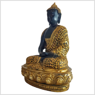 Erleuchteter Buddha schwarz mit Steinen Seite links