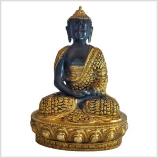 Erleuchteter Buddha schwarz mit Steinen Vorne