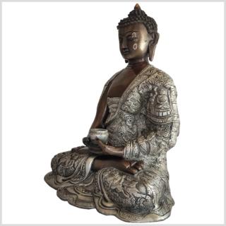 Erleuchteter Buddha Messing 29cm Kupfer Silber Seite links