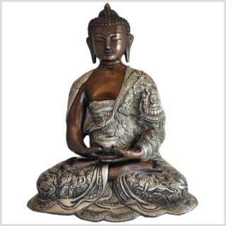 Erleuchteter Buddha Messing 29cm Kupfer Silber vorne